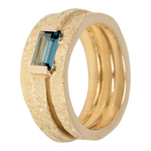 Geel gouden ring met blauwe Iolite ZK-14267