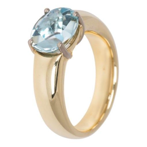 Geel gouden ring met Aquamarijn