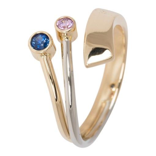 Geel-witgouden ring met Saffieren