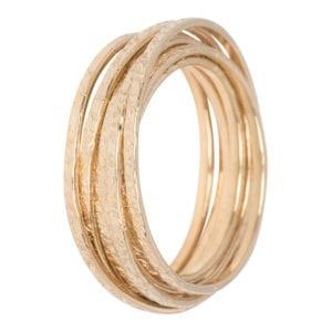 Geelgouden bewerkte 7 ringen