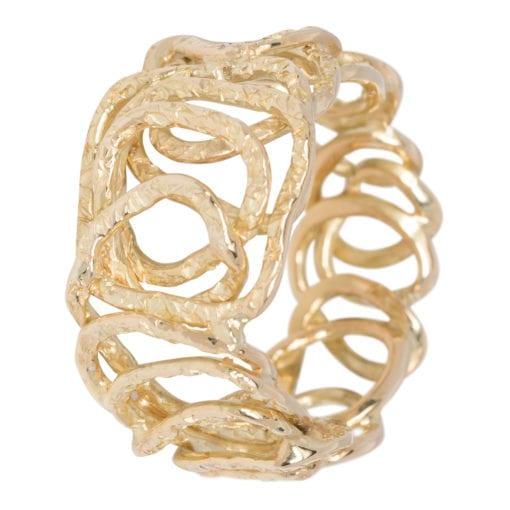Geelgouden ring bewerkt