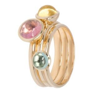 3 geelgouden ring met kleurstenen