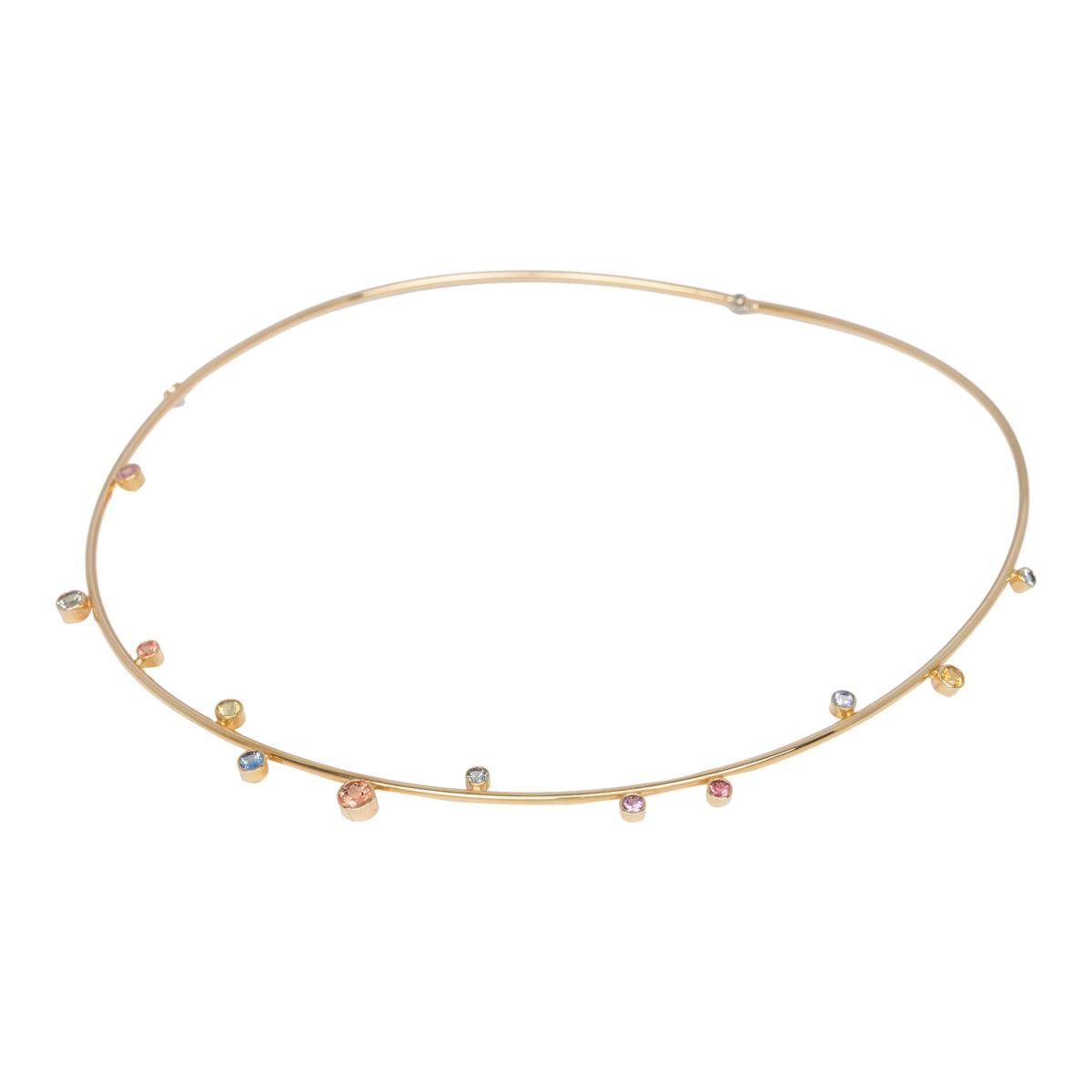 Geelgouden collier met kleur steentjes