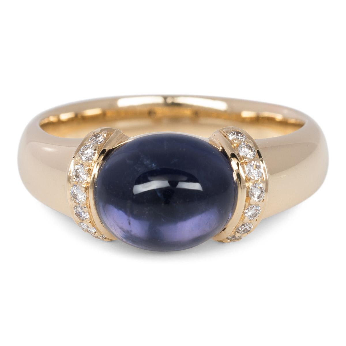 Geelgouden ring met Ioliet en briljantjes