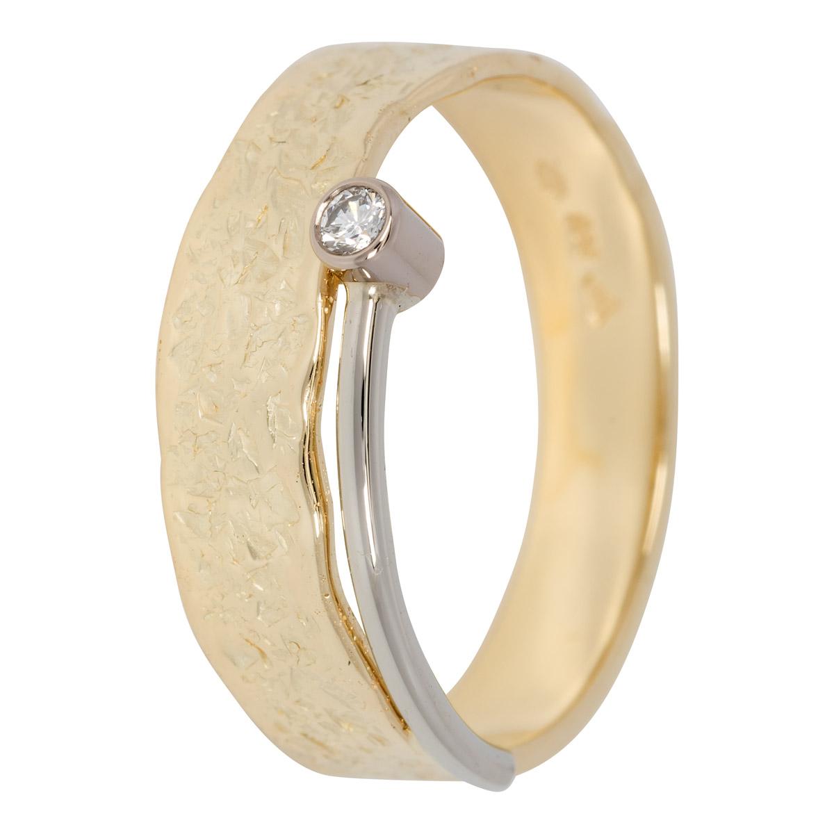 Geel-witgouden ring met briljant