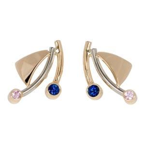 Geel gouden oorknoppen met roze en blauwe steentjes