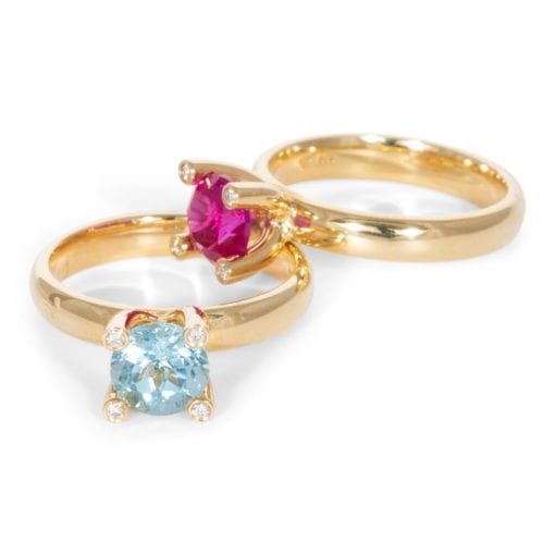 Ringen geelgoud met Aquamarijn en Toermalijn ZK-15681