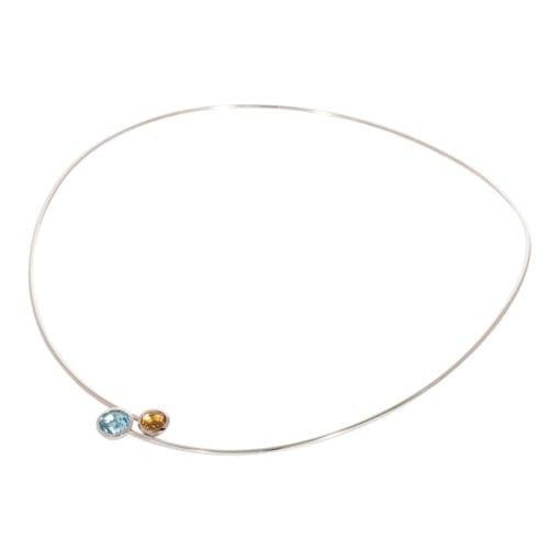 Spang collier witgoud met kleurstenen ZK-15891